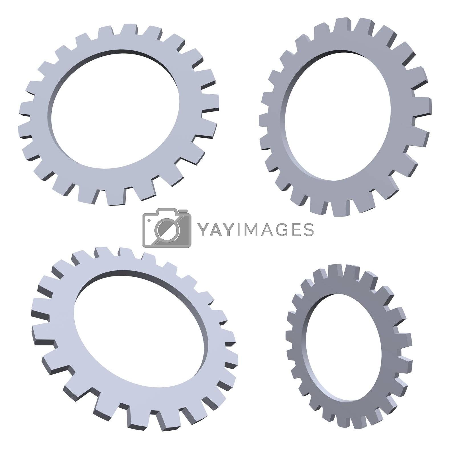 4 gears in various positions