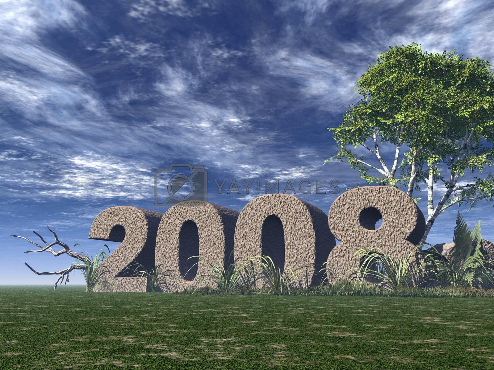 2008 rock on green field - 3d illustration