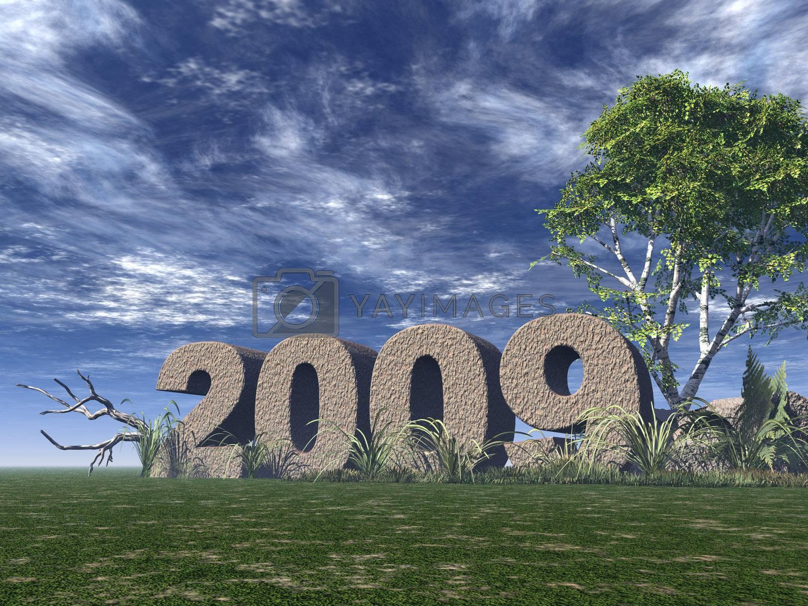 2009 rock on green field - 3d illustration