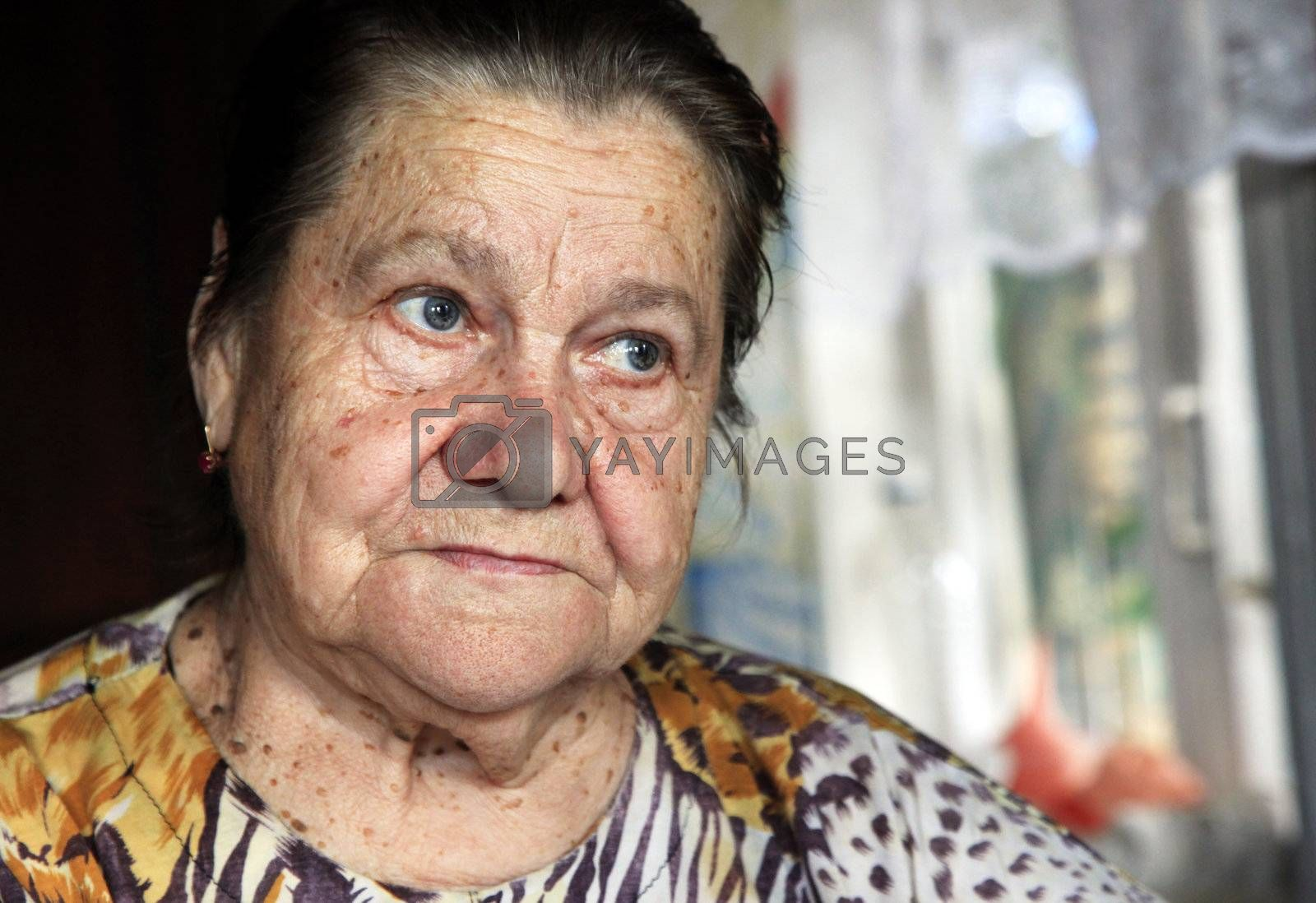 Grandmother close-up. Woman in her eighties.