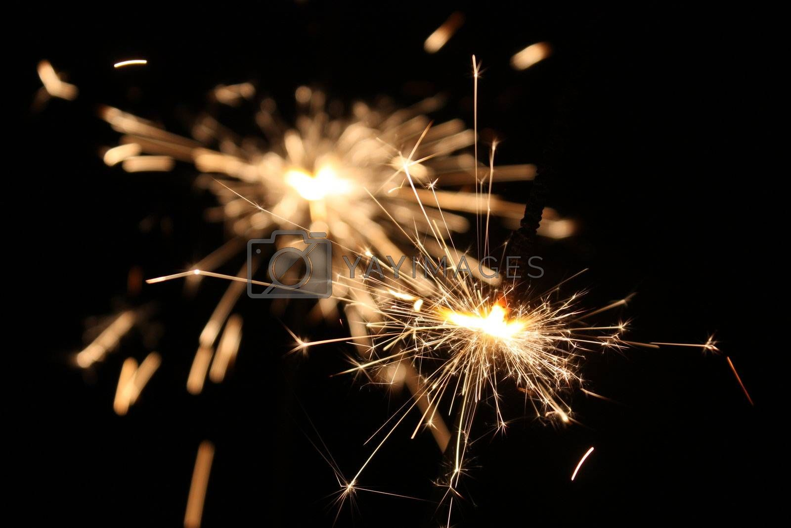burning sparkler on New Year�s Eve