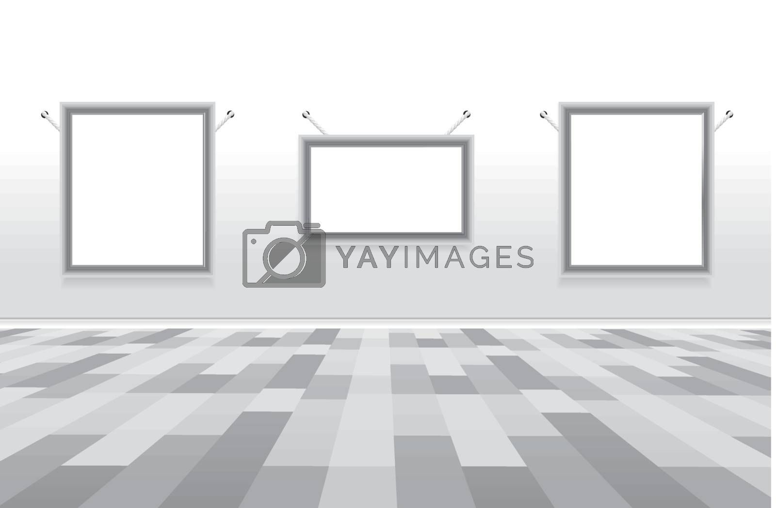 Picture gallery with empty frame. Easy to resize