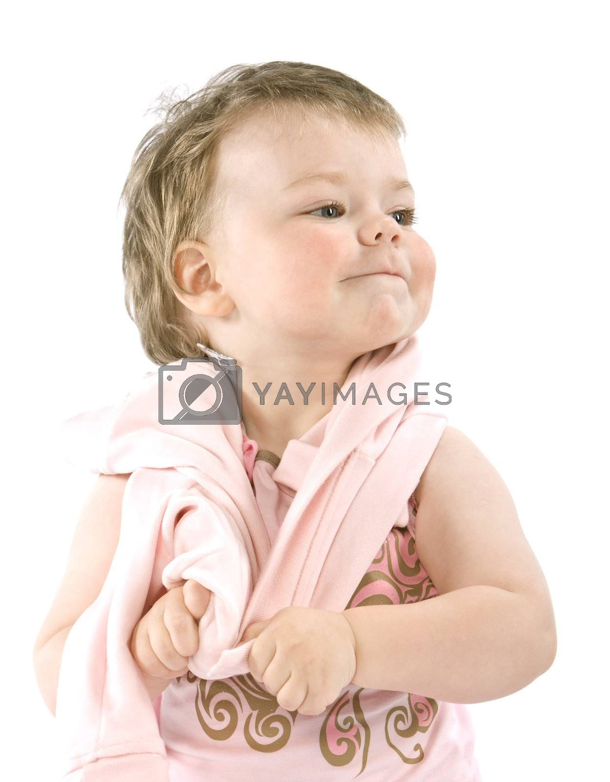 Child with pink jacket. Isolated on white