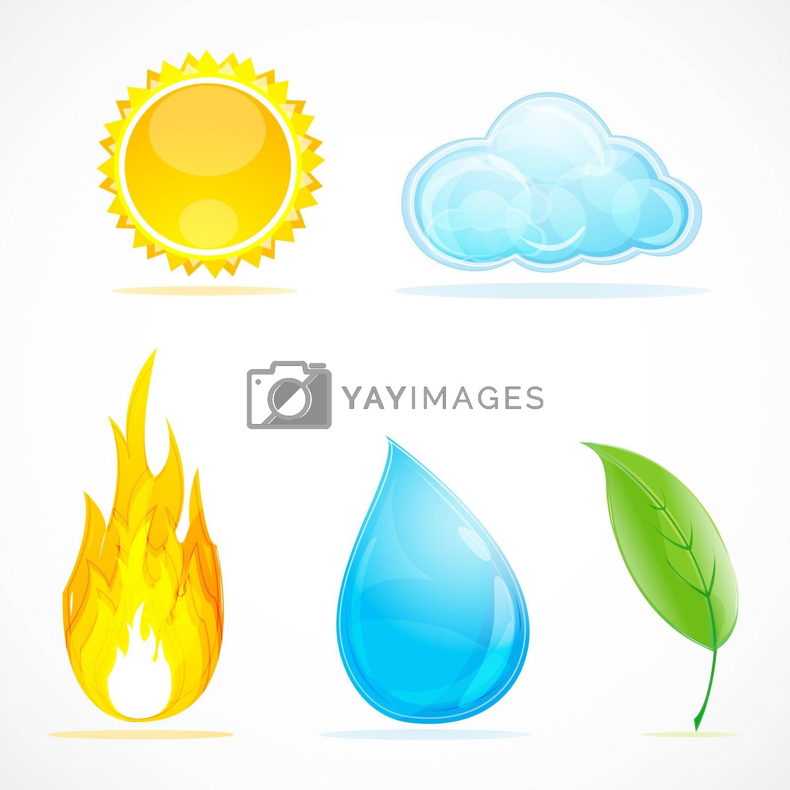 illustration of kinds of weather on white background