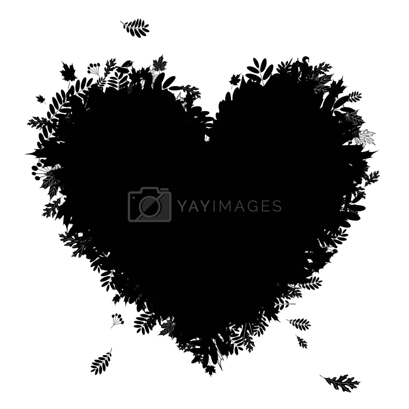 I love autumn! Heart shape from falling leaves, black silhouette
