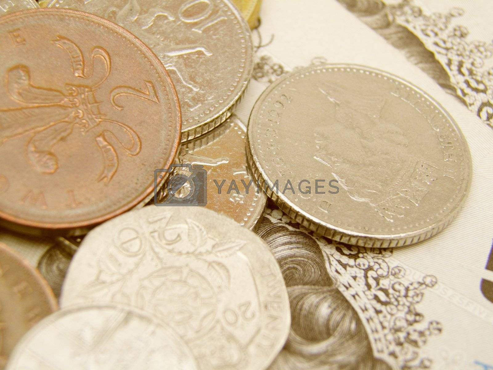 British Sterling pound currency - legal tender of the United Kingdom Union - banknotes and coins