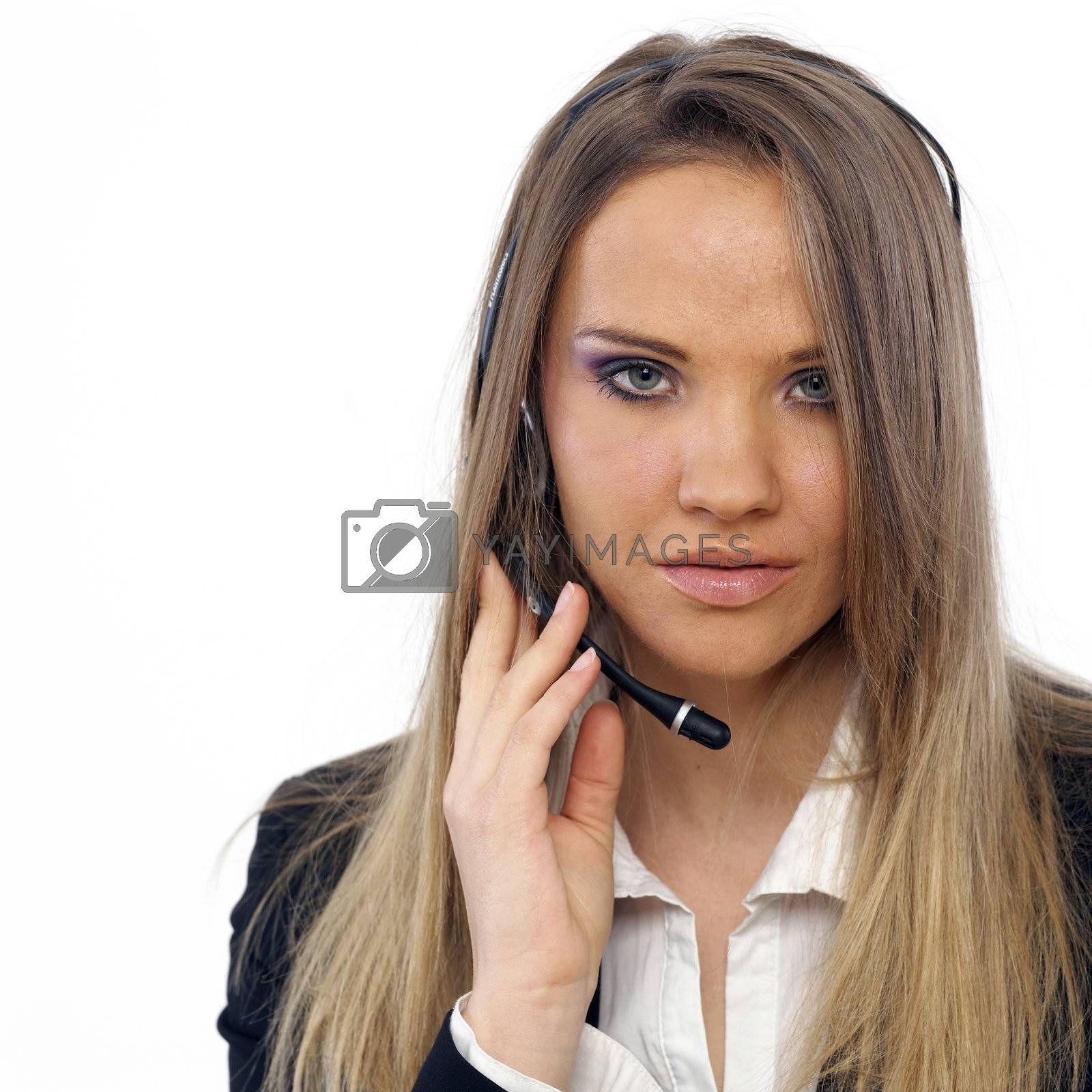 An attractive business woman with a headset