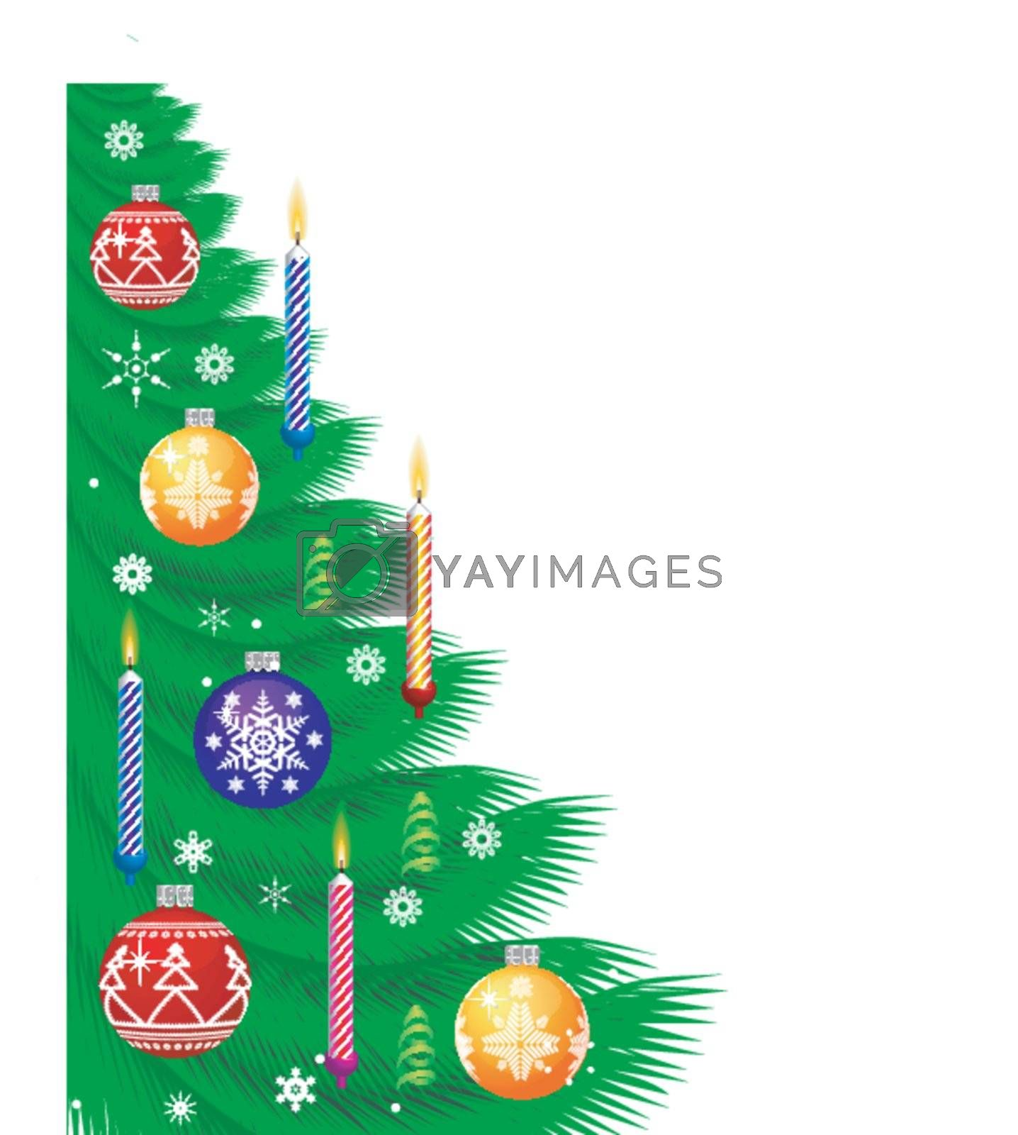 Christmas Background with new year tree, candle, snowflakes
