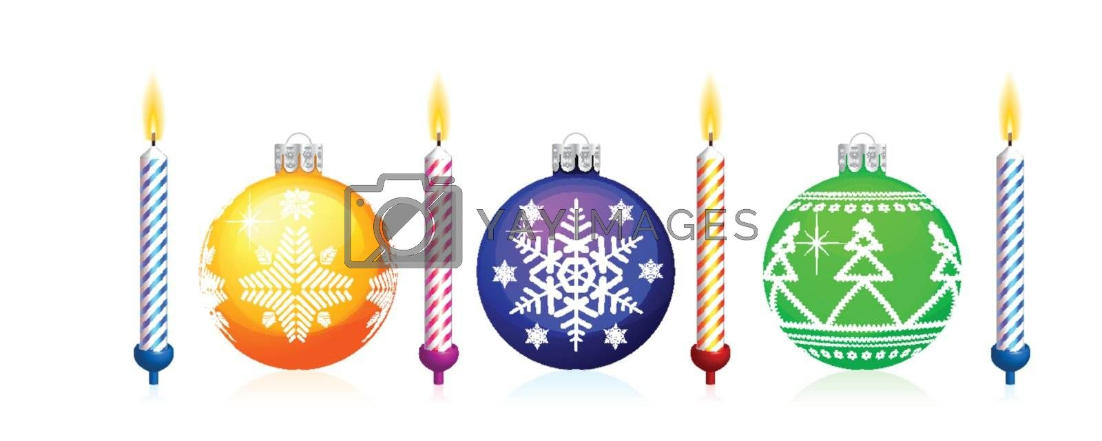 Christmas tree sphere and candle. Colorful set on white background