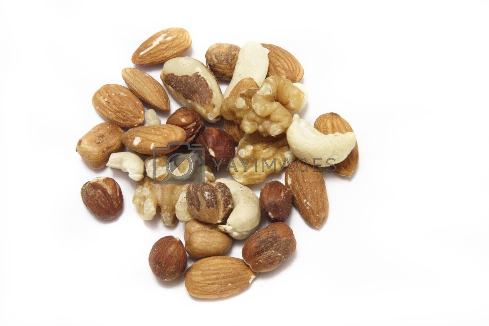 assorted mixed nuts of cashews,almonds,walnuts,hazelnuts,and brazil nuts