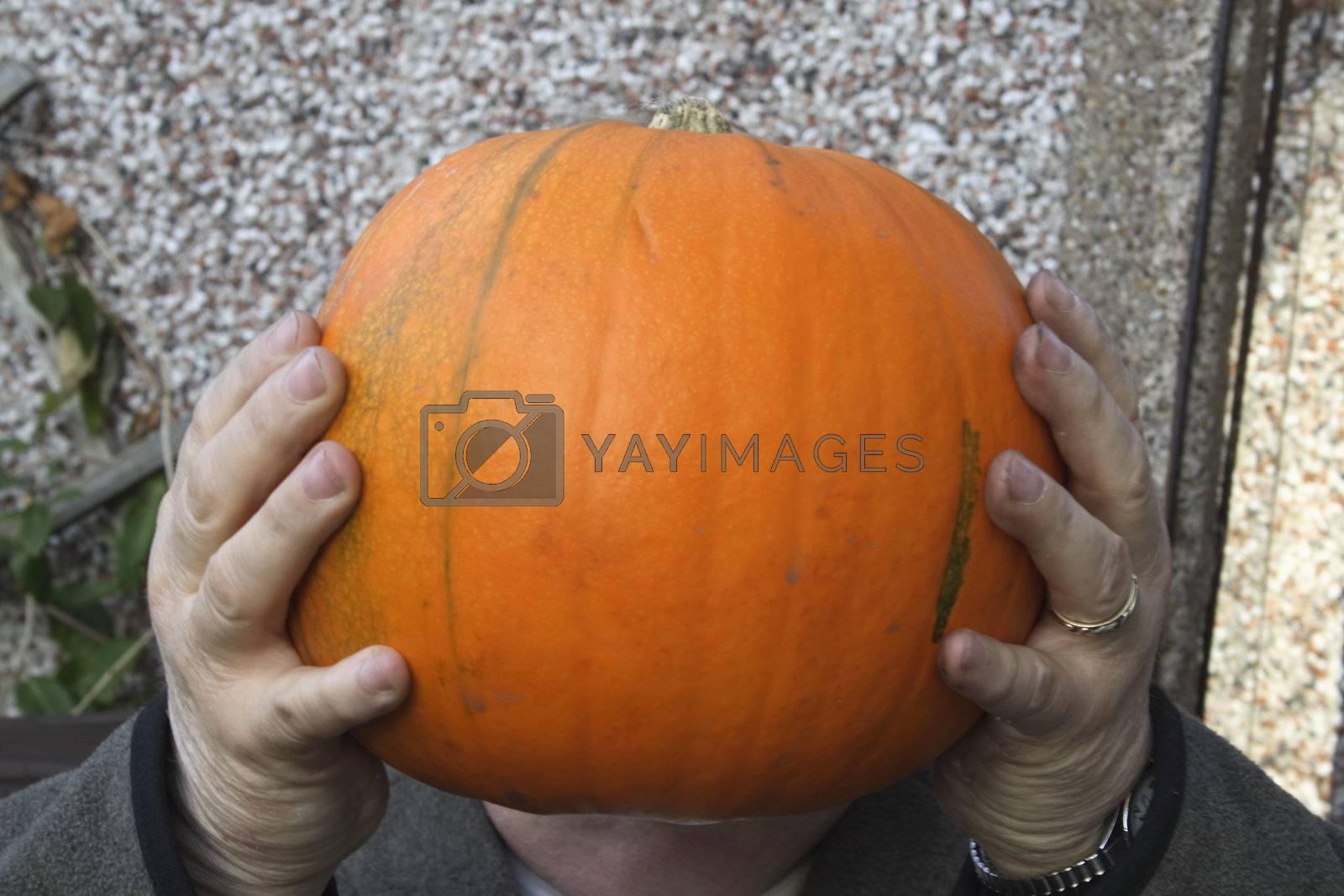 large pumpkin held in hands as a head
