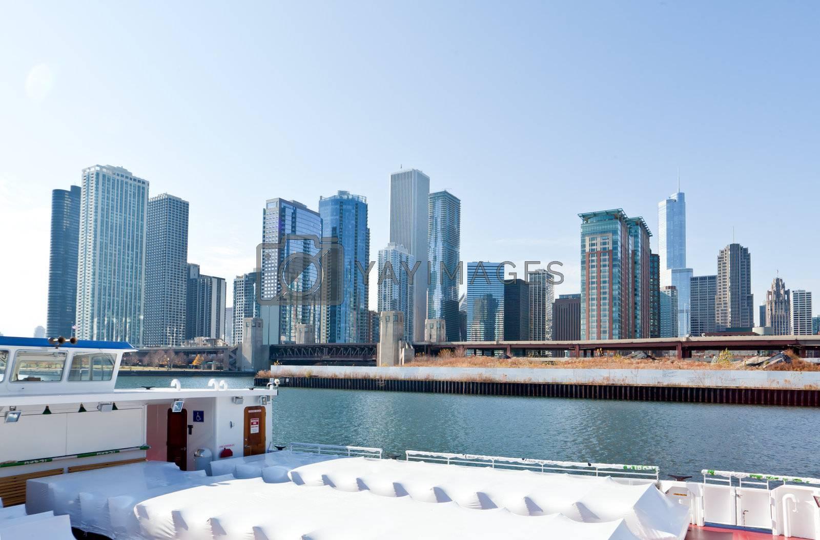 The Chicago Skyline along the lake shore