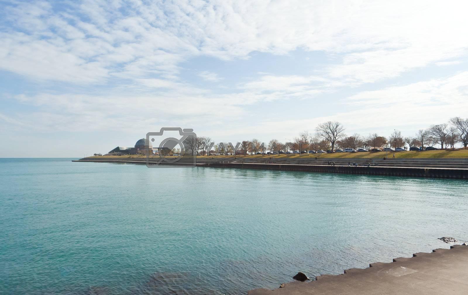 The Michigan lake shore in Chicago USA