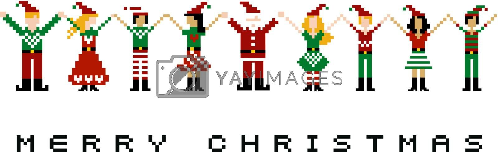 A group of pixeled xmas characters celebrating Christmas.
