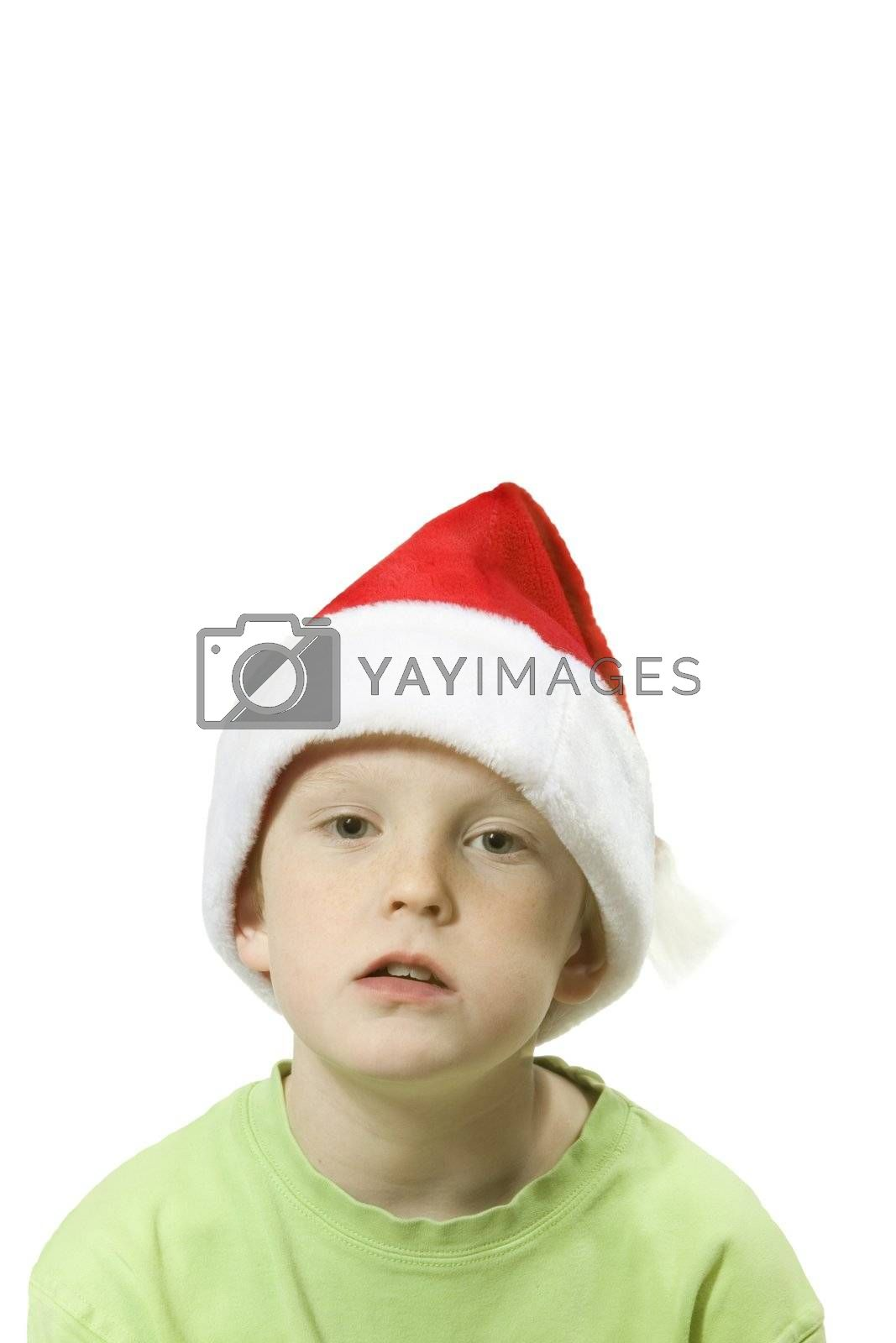 child isolated over white with santa hat
