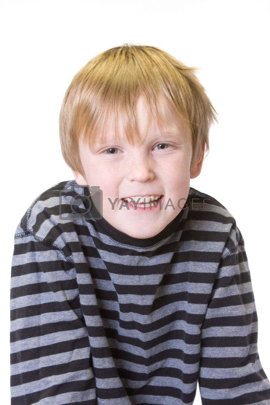 isolated child on white with happy expression