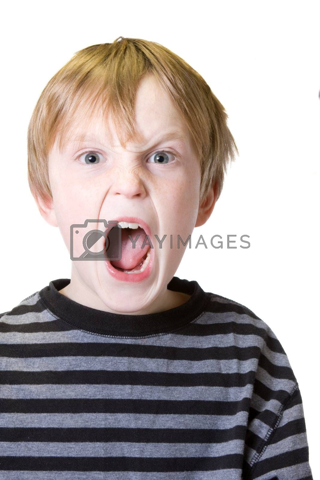 isolated child with an emotional outburst