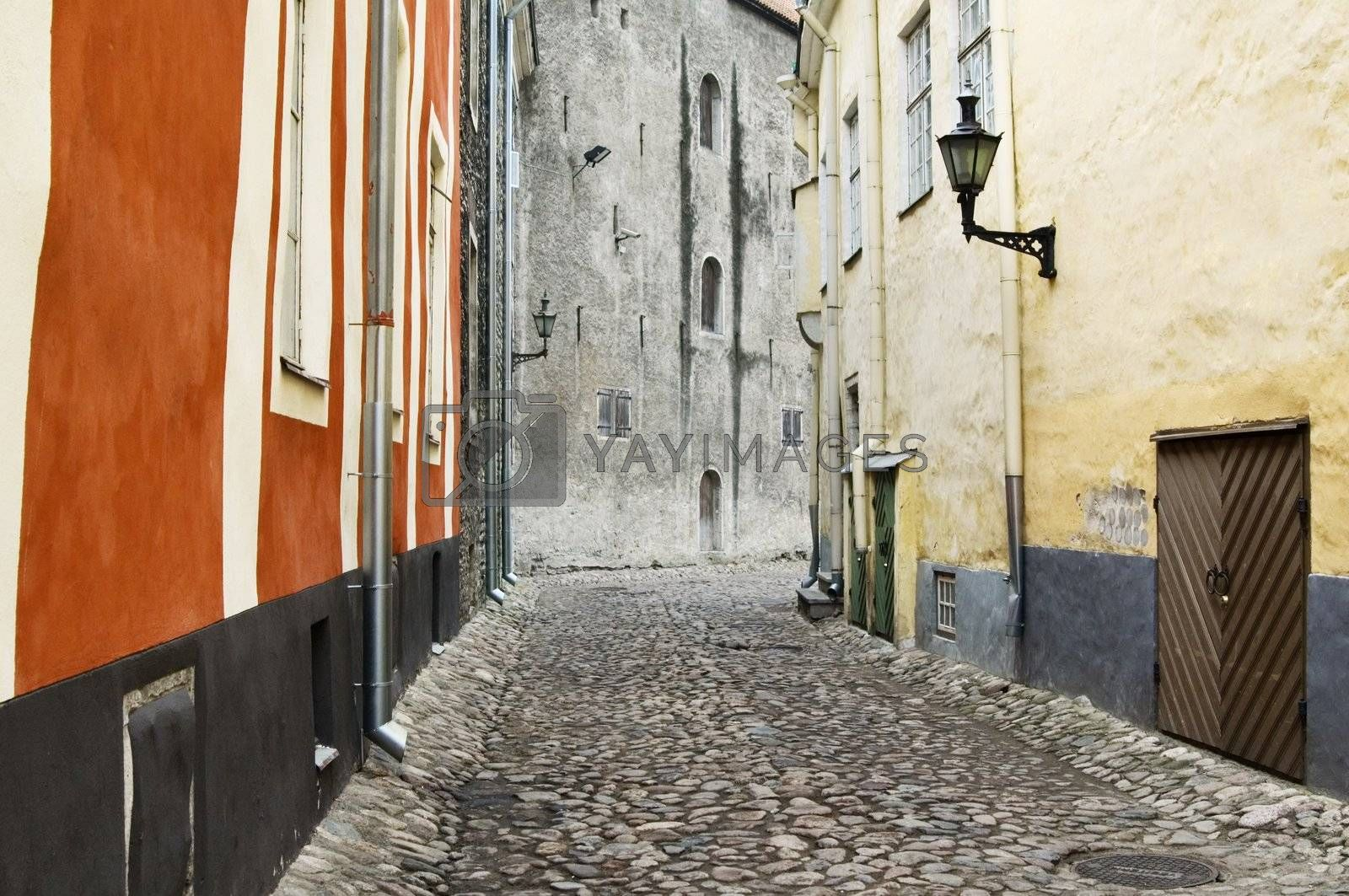 Deserted ancient street of Tallinn. Estonia.