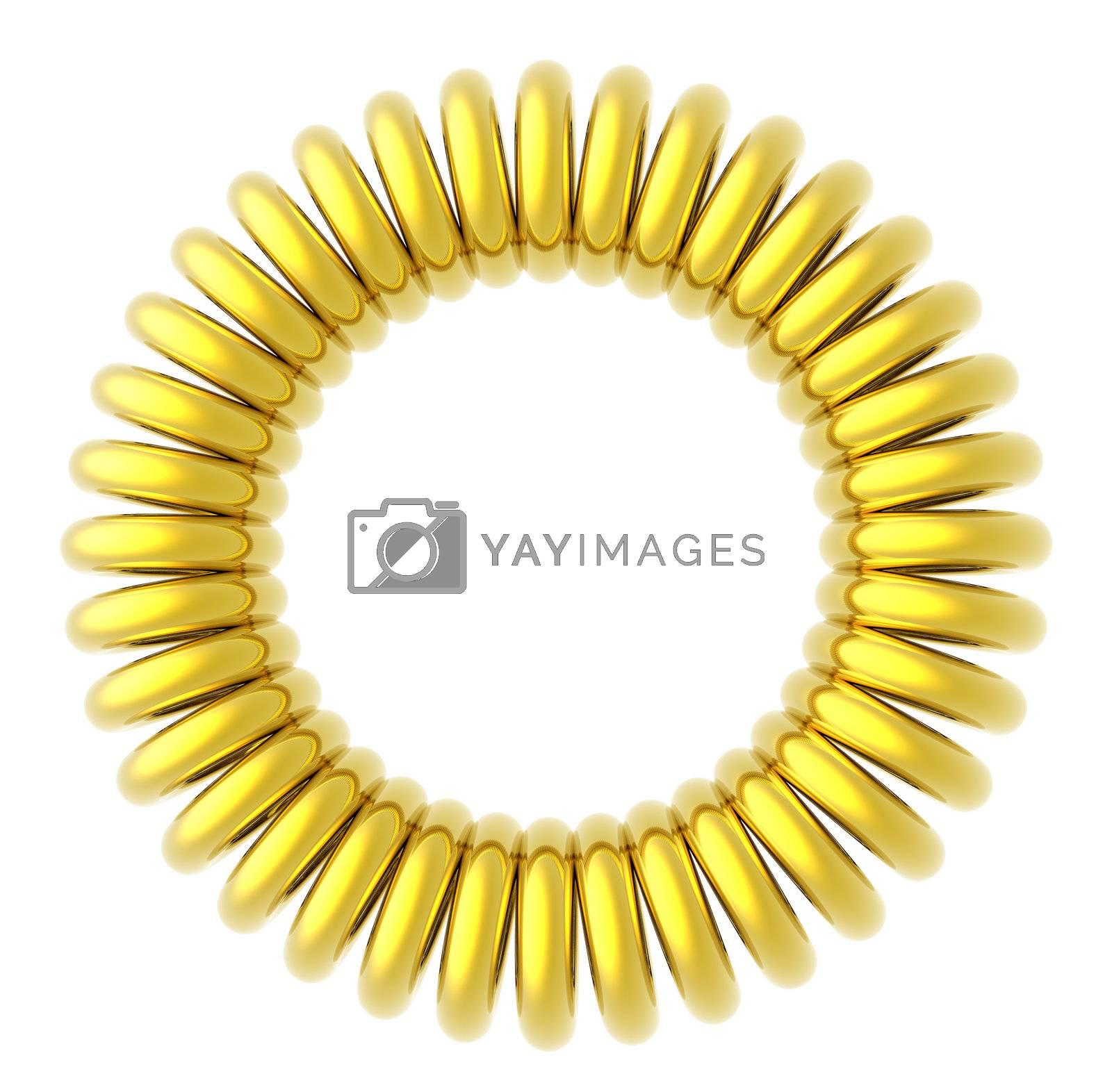 golden circle on white background - 3d illustration