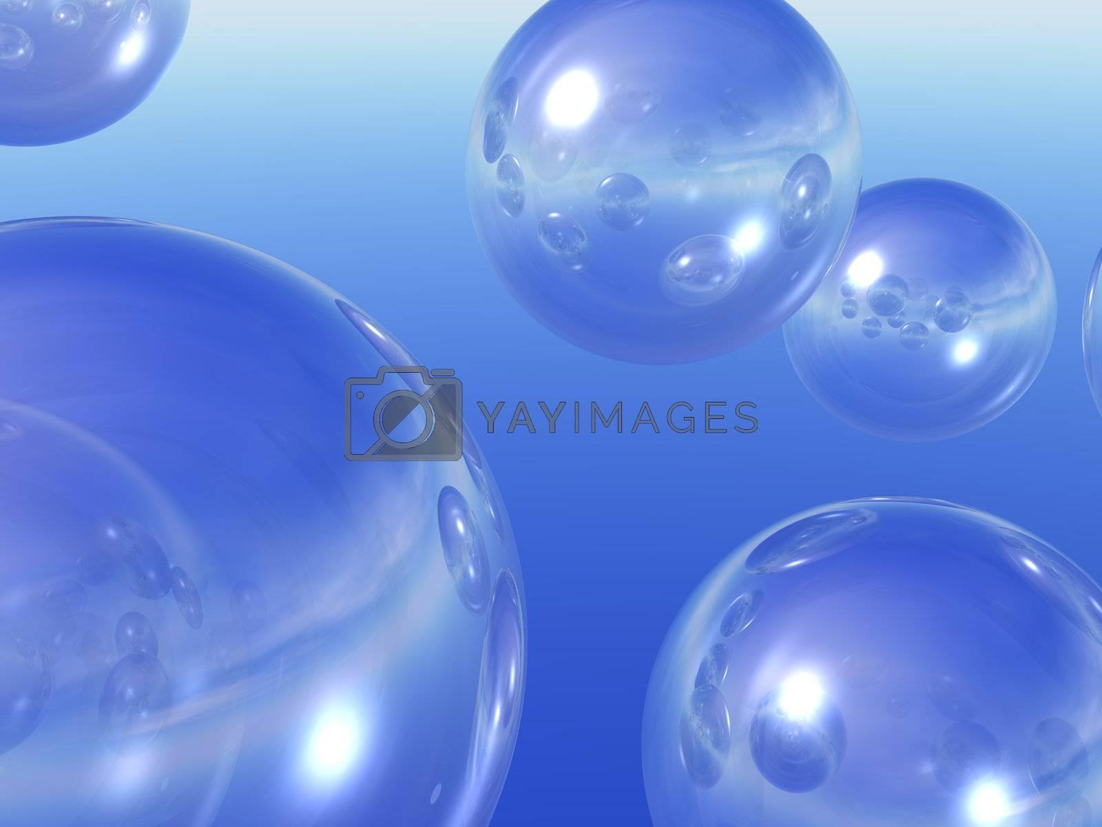 transparent balls in the sky - 3d illustration
