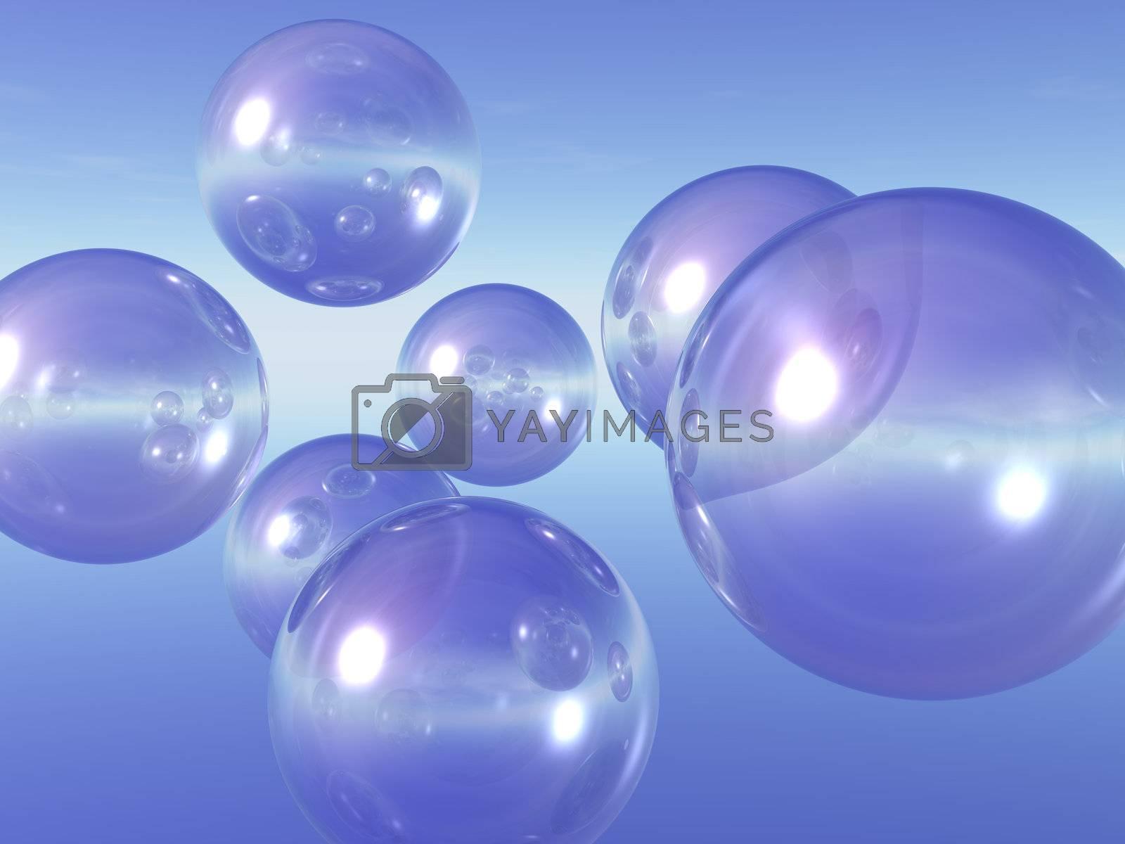 transparent glass balls in the blue sky - 3d illustration