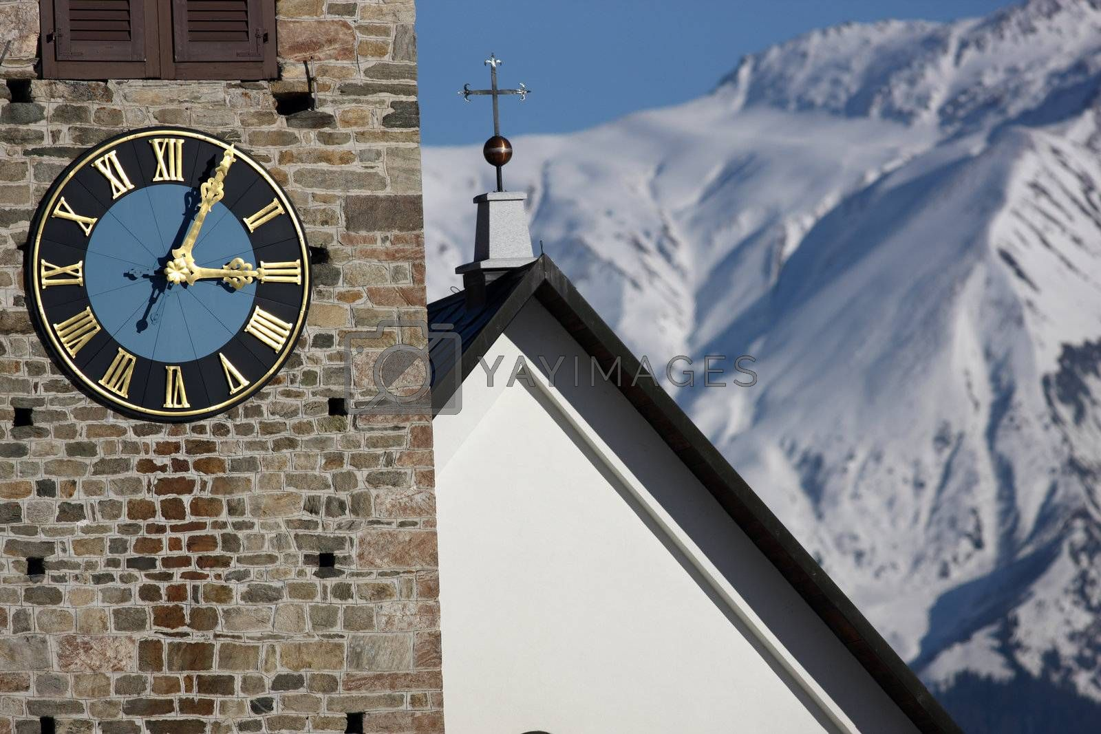 Royalty free image of Detail view of a clock on a church tower by monner