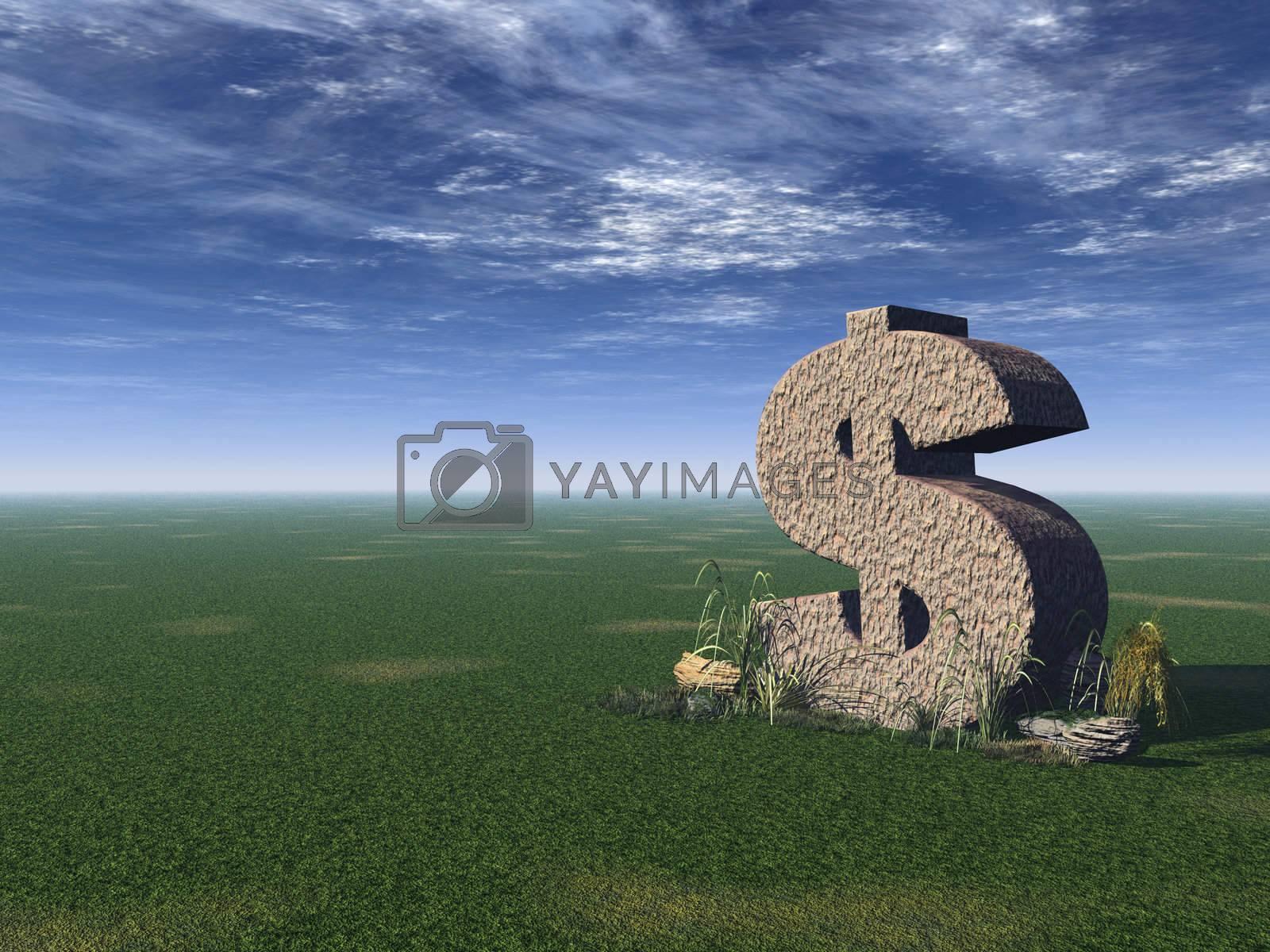 dollar rock on a green field - 3d illustration