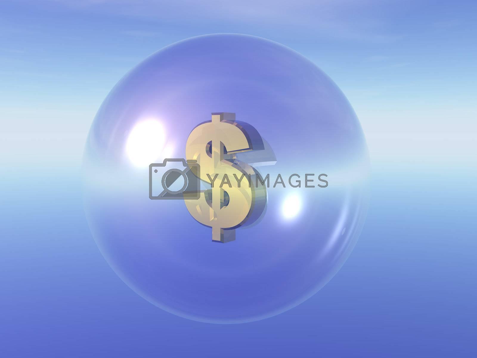 dollar symbol in a transparent ball - 3d illustration
