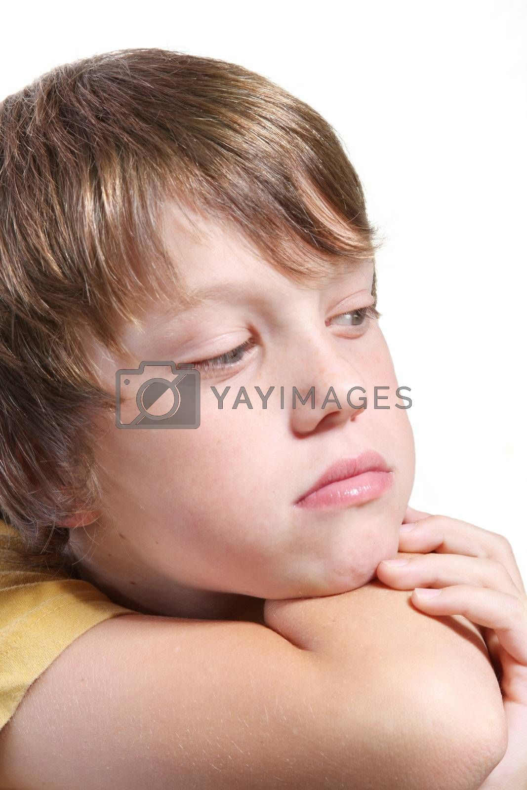isolated child with thoughtful expression