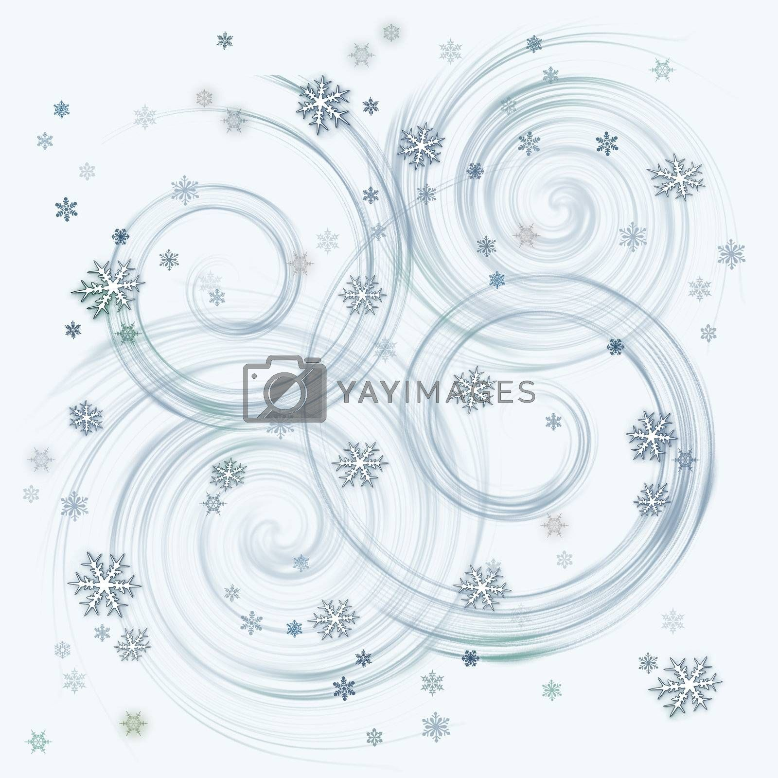 Abstract with white snow flakes against blue background