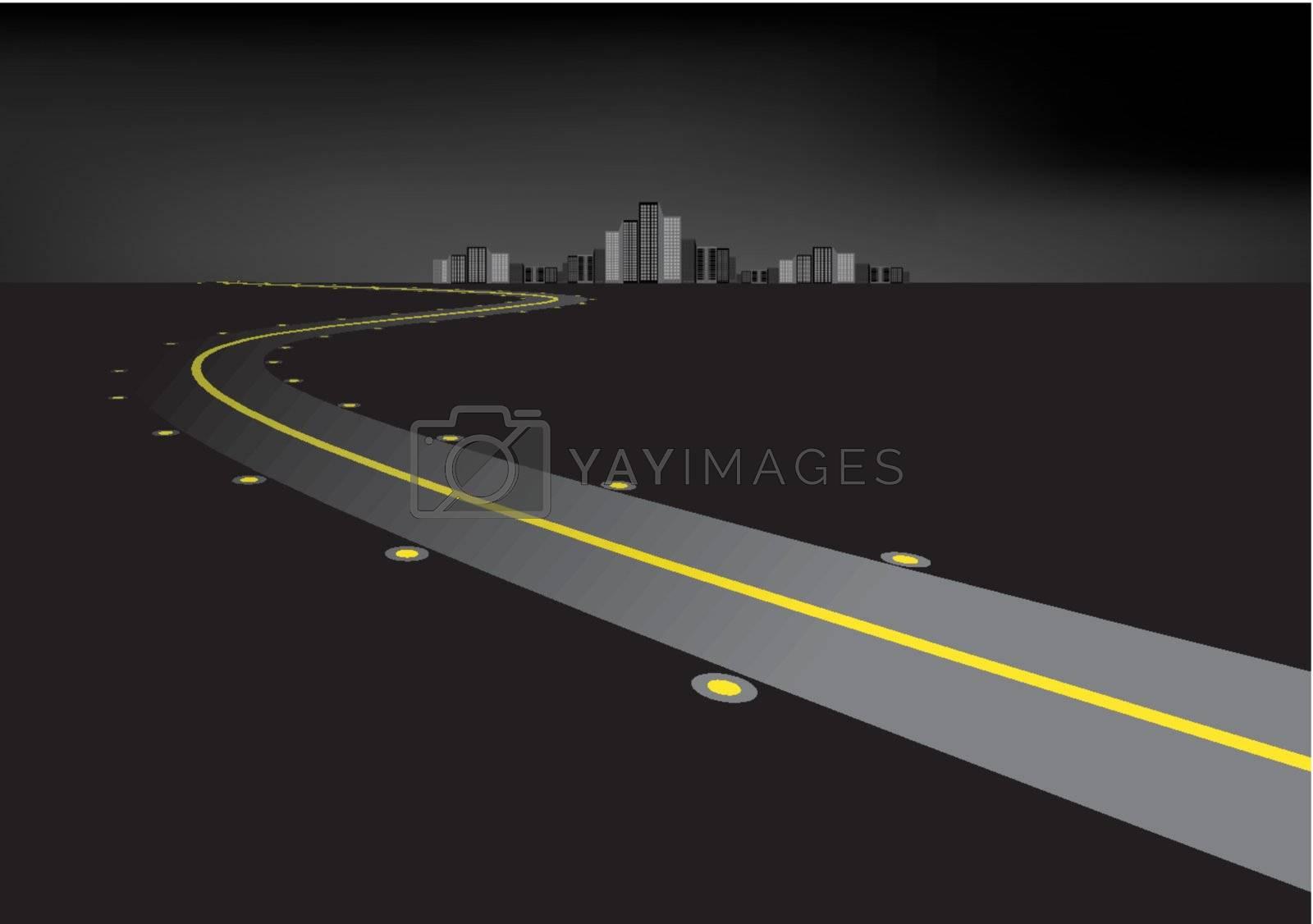 Road in the night illustartion