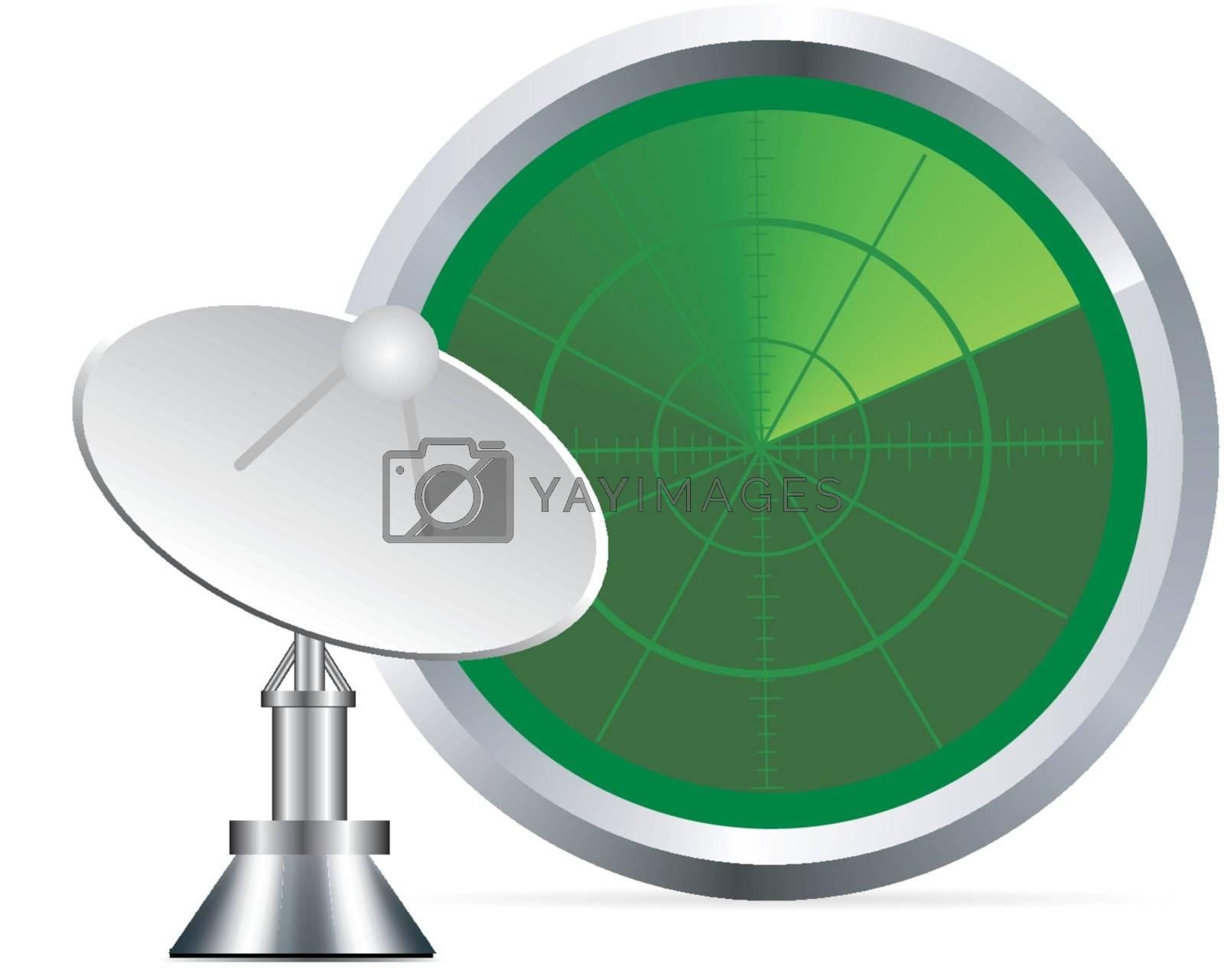 vector radar screen with antenna on white