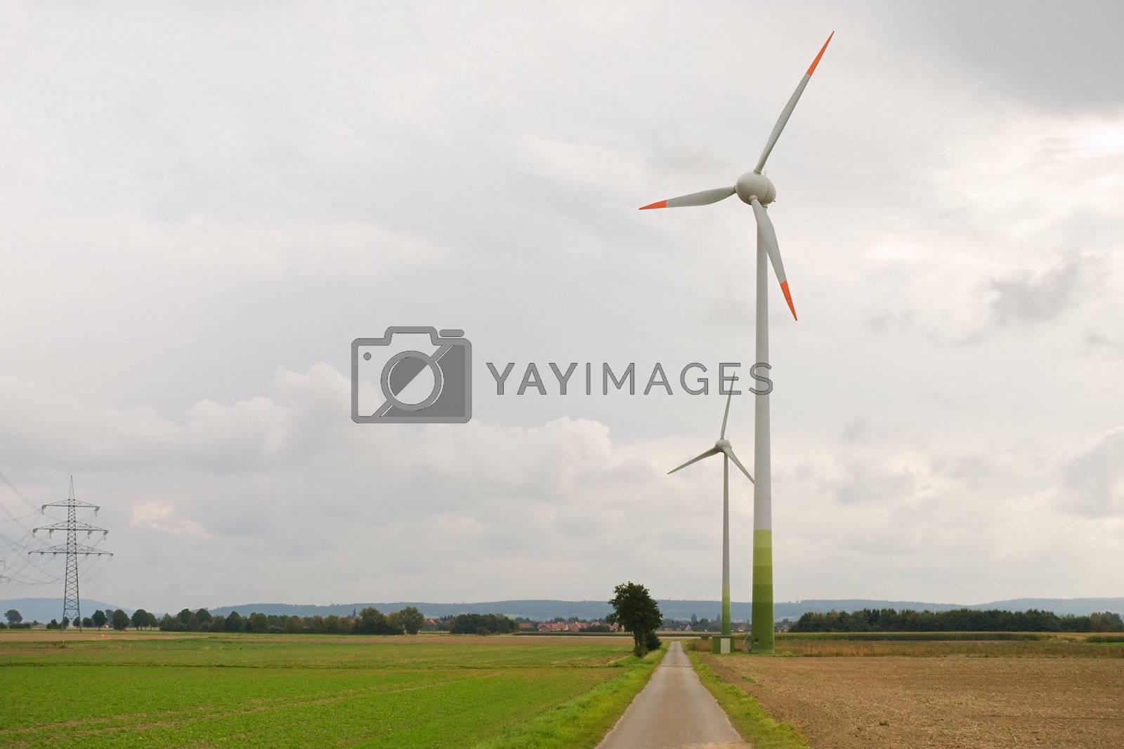 Wind Turbines at the rural field near the road