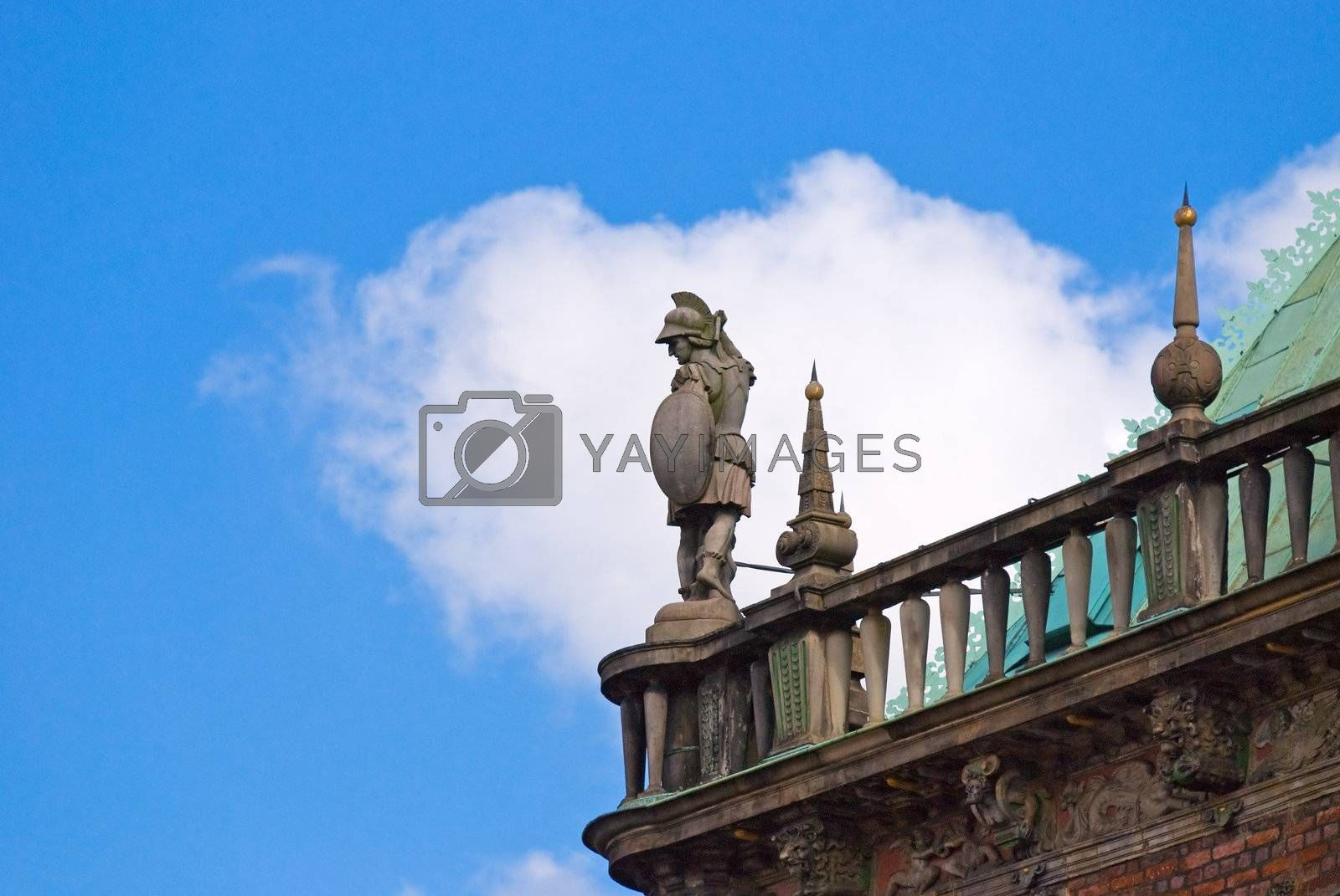 Soldier statue on the roof of Bremen Rathaus, Germany