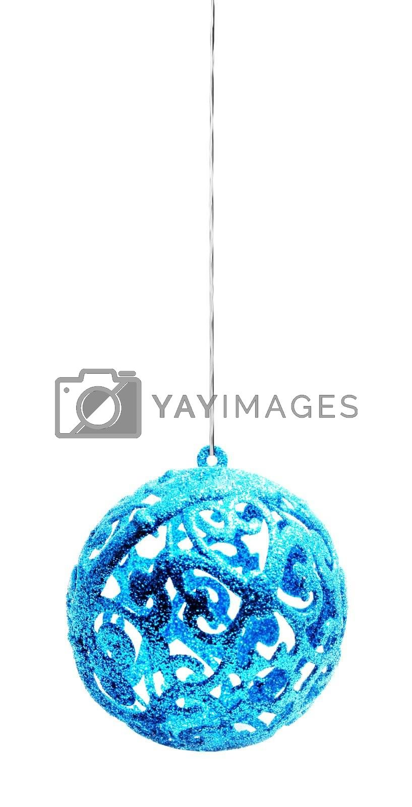 Blue Christmas ball isolated on white background