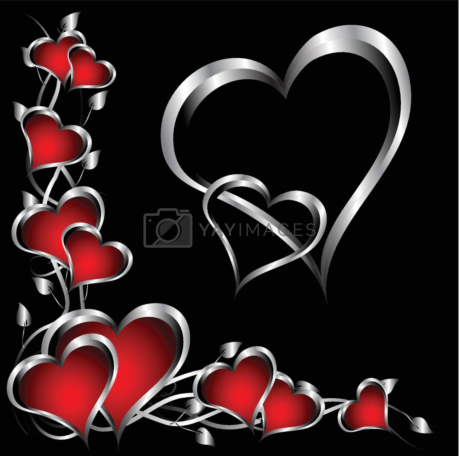 Royalty free image of A red and silver hearts Valentines Day Background by mhprice