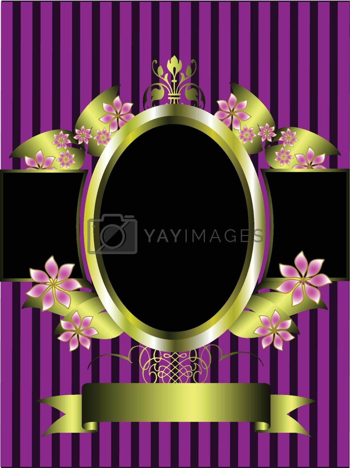 Royalty free image of  gold floral frame on a classic purple striped  background by mhprice