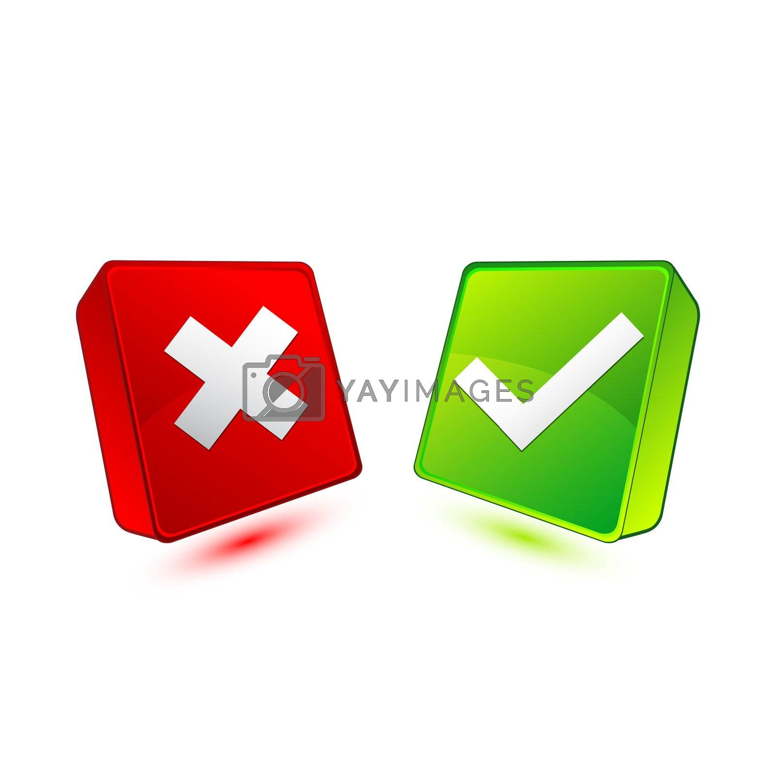 Royalty free image of colorful box with right and wrong by get4net