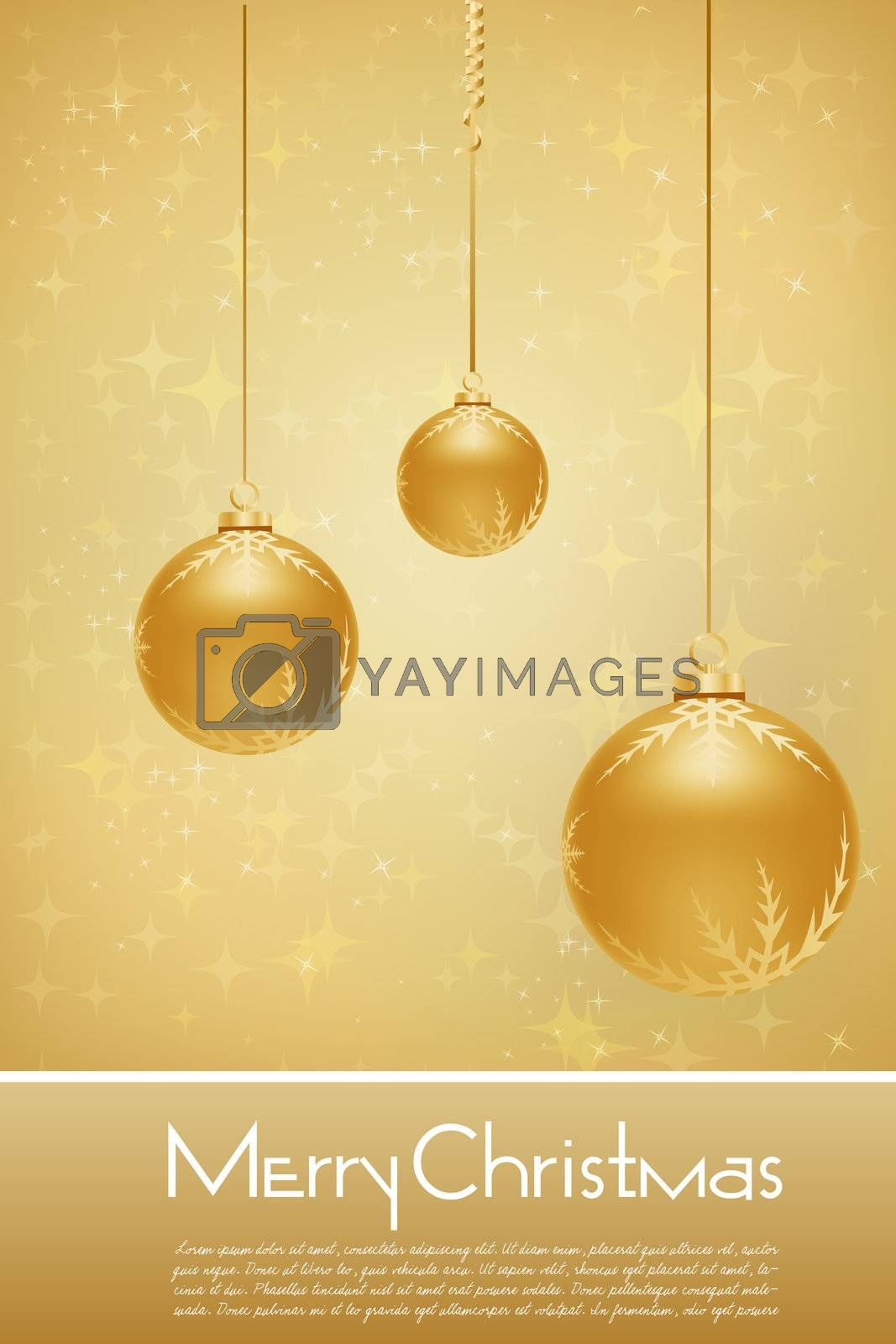 Royalty free image of golden merry christmas card by get4net