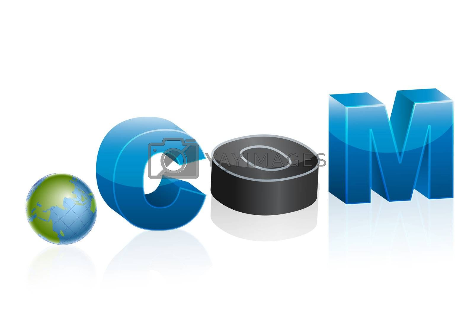 Royalty free image of dot com icon with globe by get4net