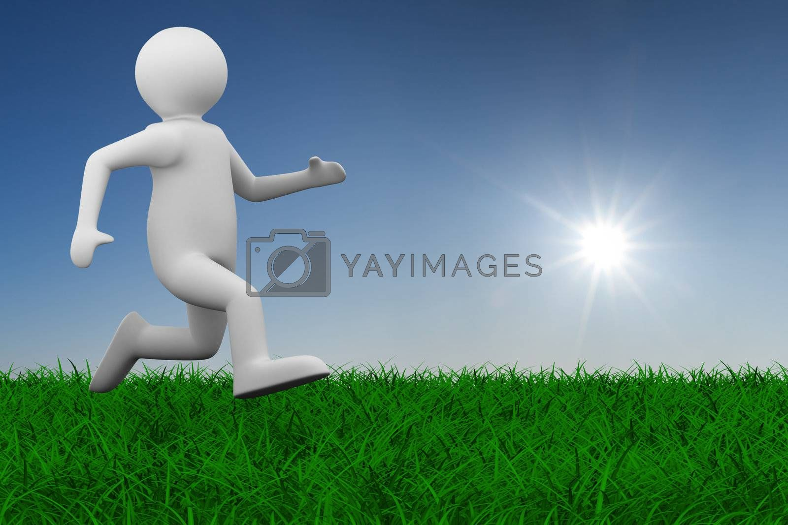 Royalty free image of running person on grass. Isolated 3D image by ISerg