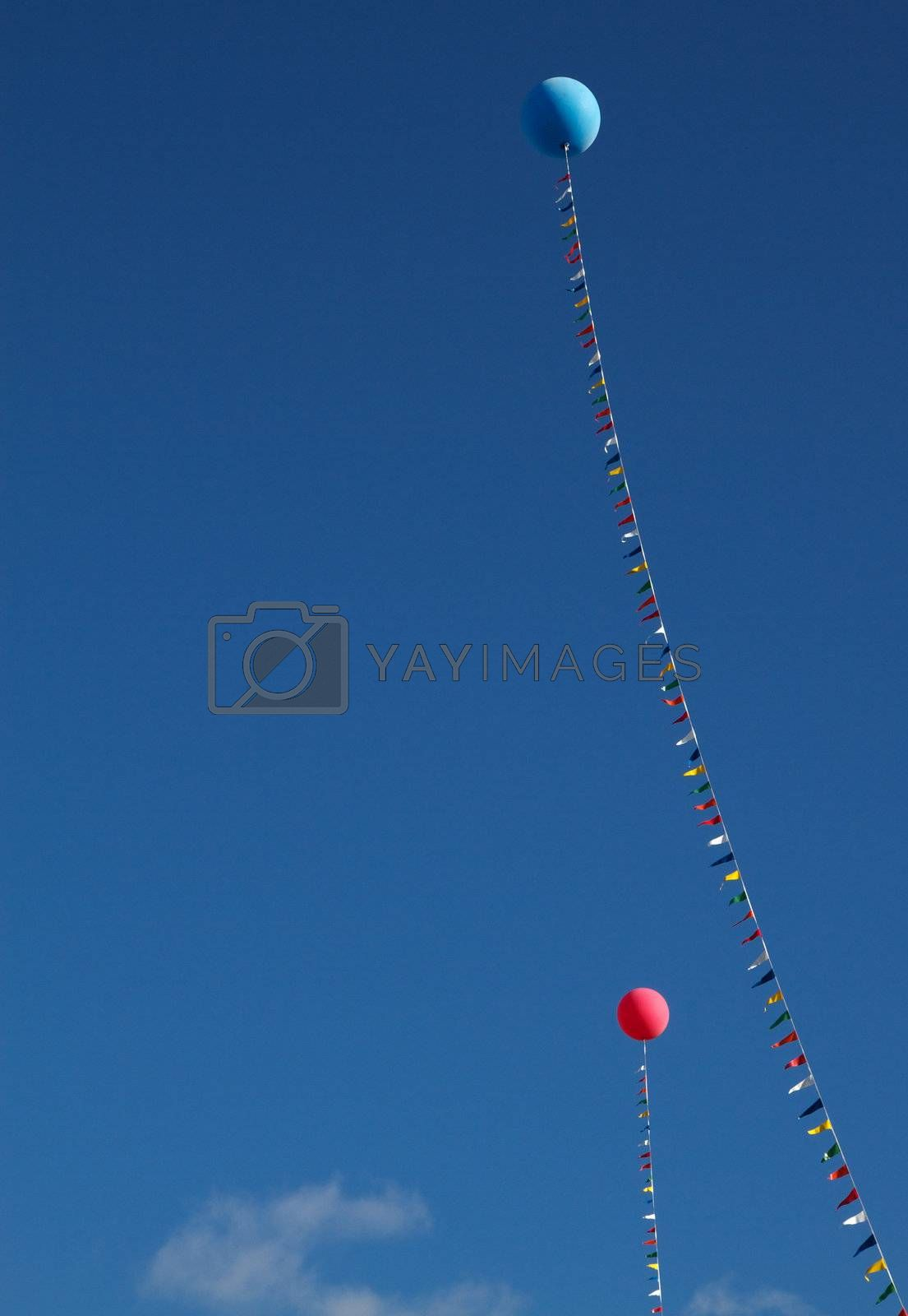 Royalty free image of Ballons and flags by bobkeenan