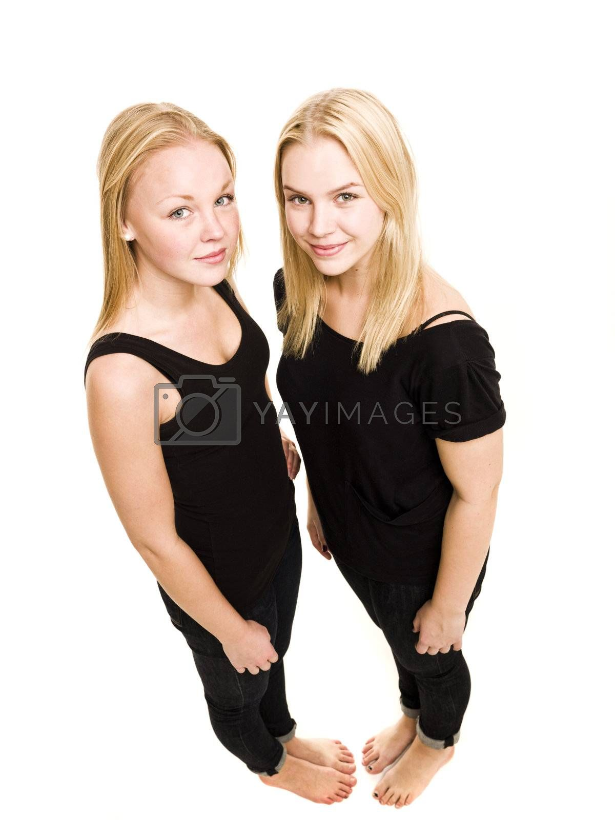 Royalty free image of Young women from above by gemenacom