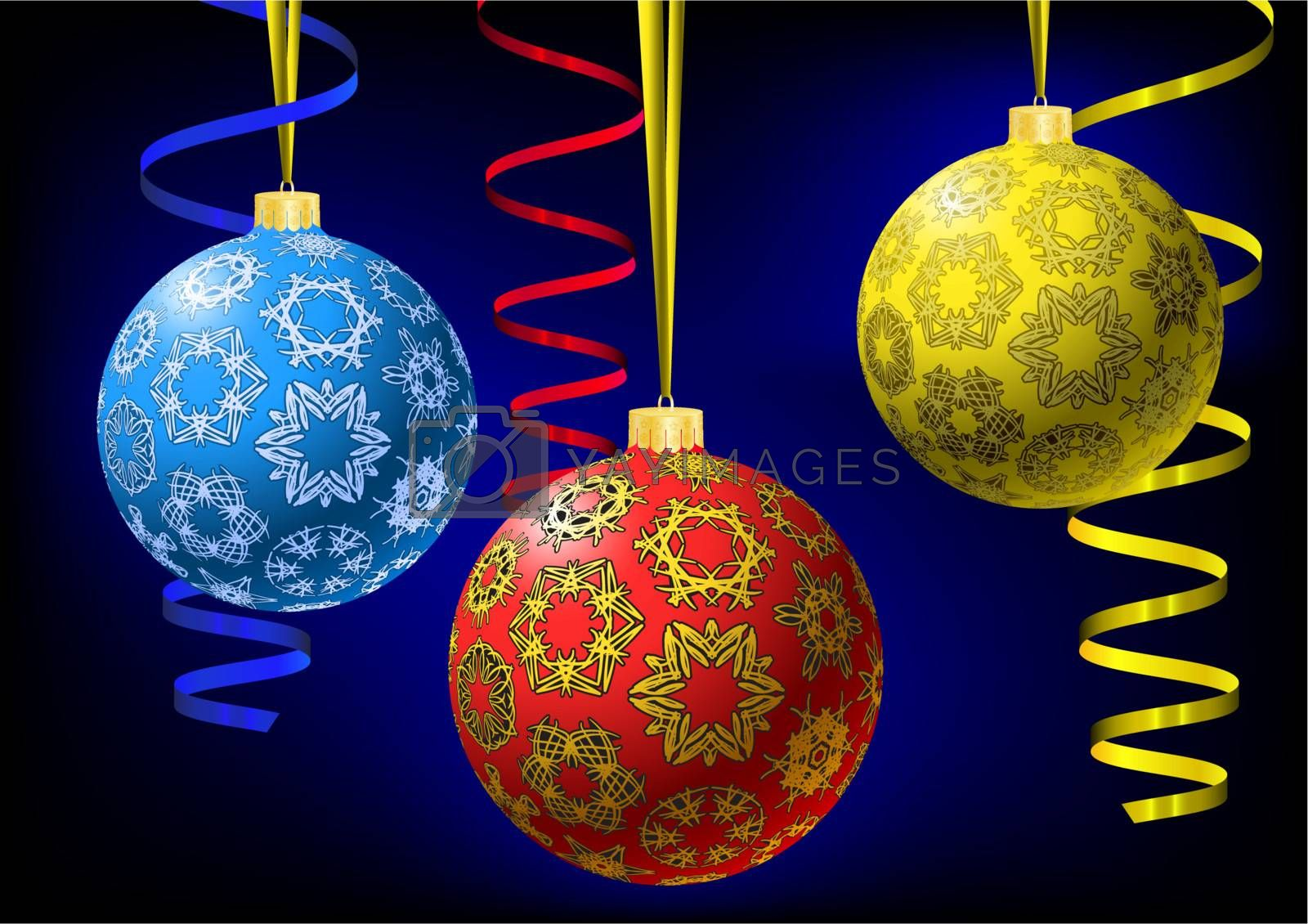 Royalty free image of Christmas-balls with snowflakes texture by boroda