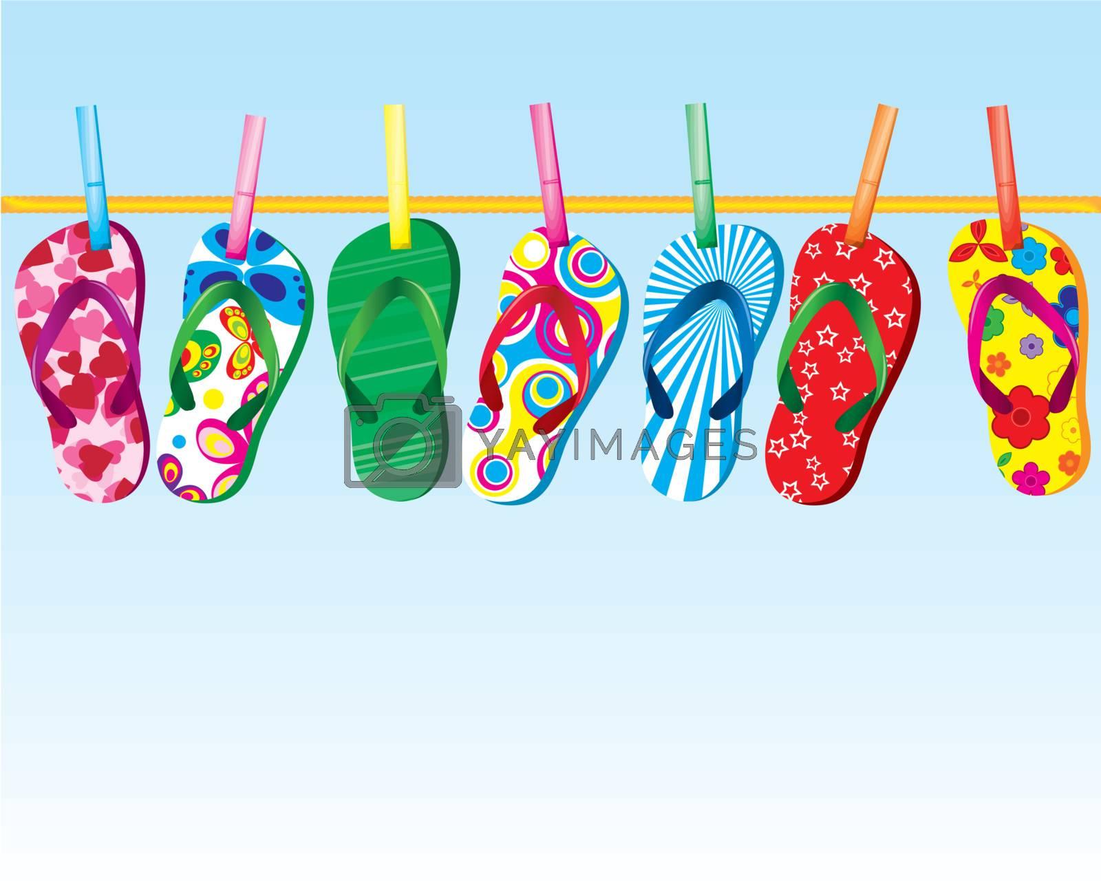 flip flop sandals on clothes line under pretty sky