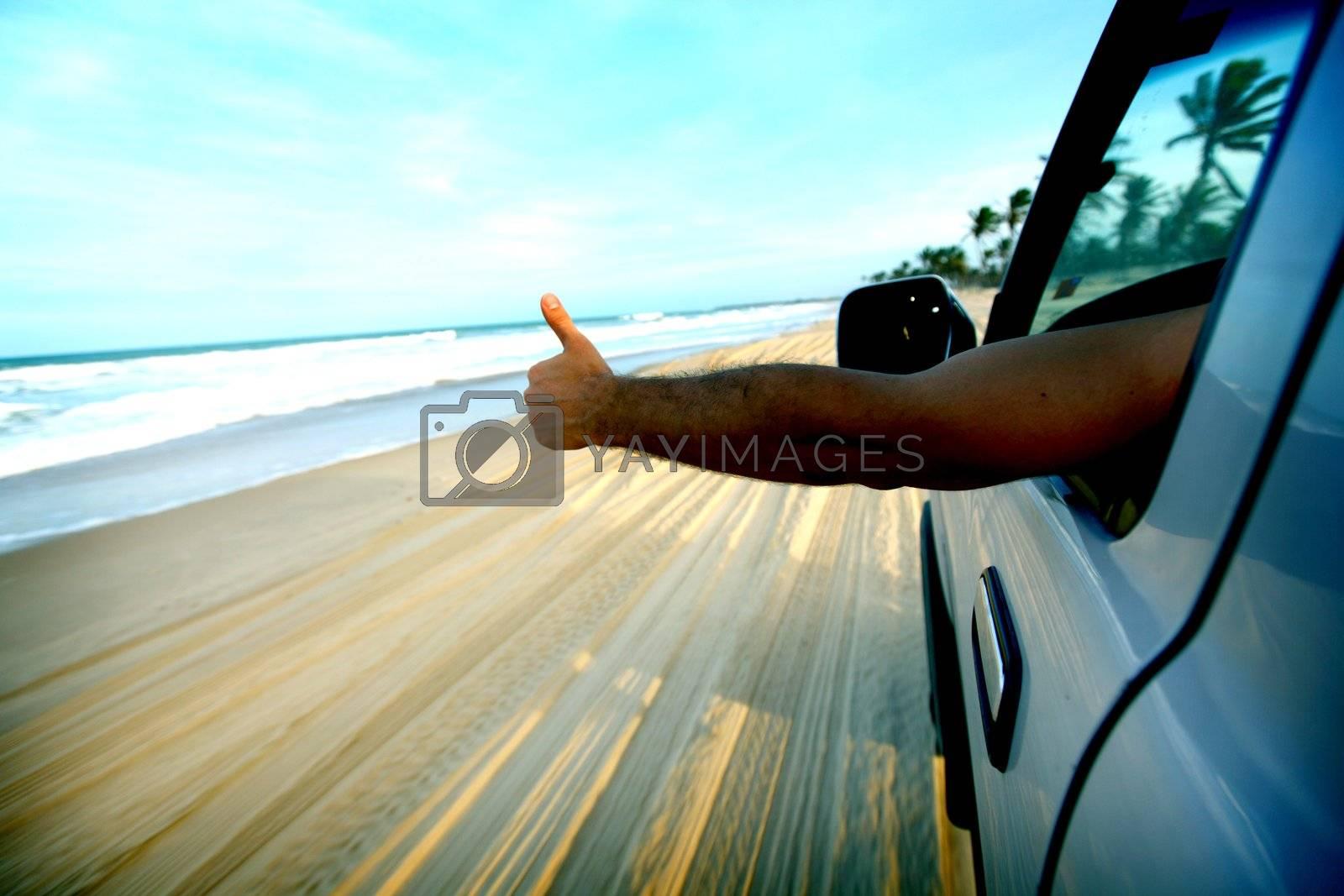 beach drive on allroad car