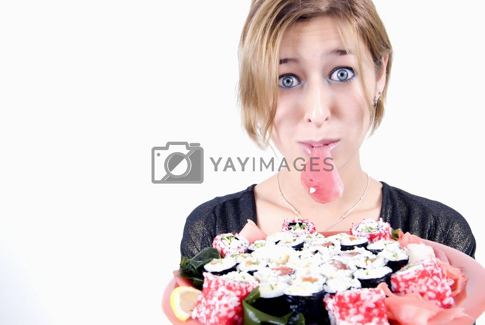 Royalty free image of girl with sushi by HASLOO