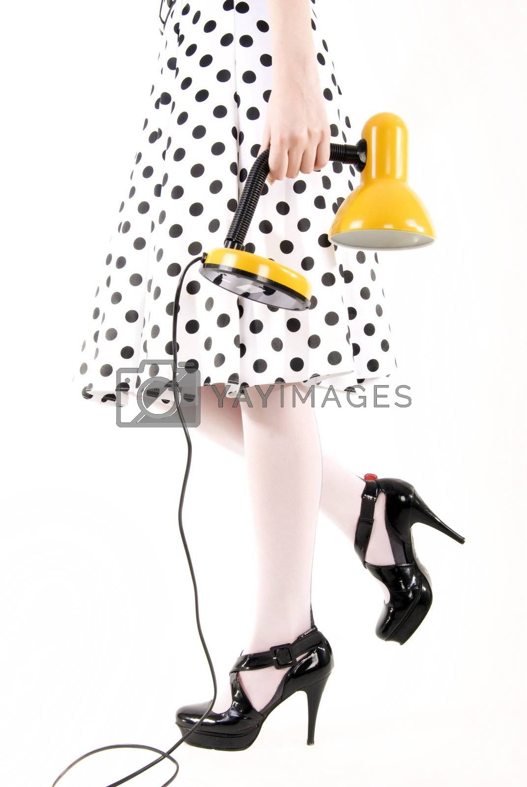 Royalty free image of young girl   with lamp  by HASLOO