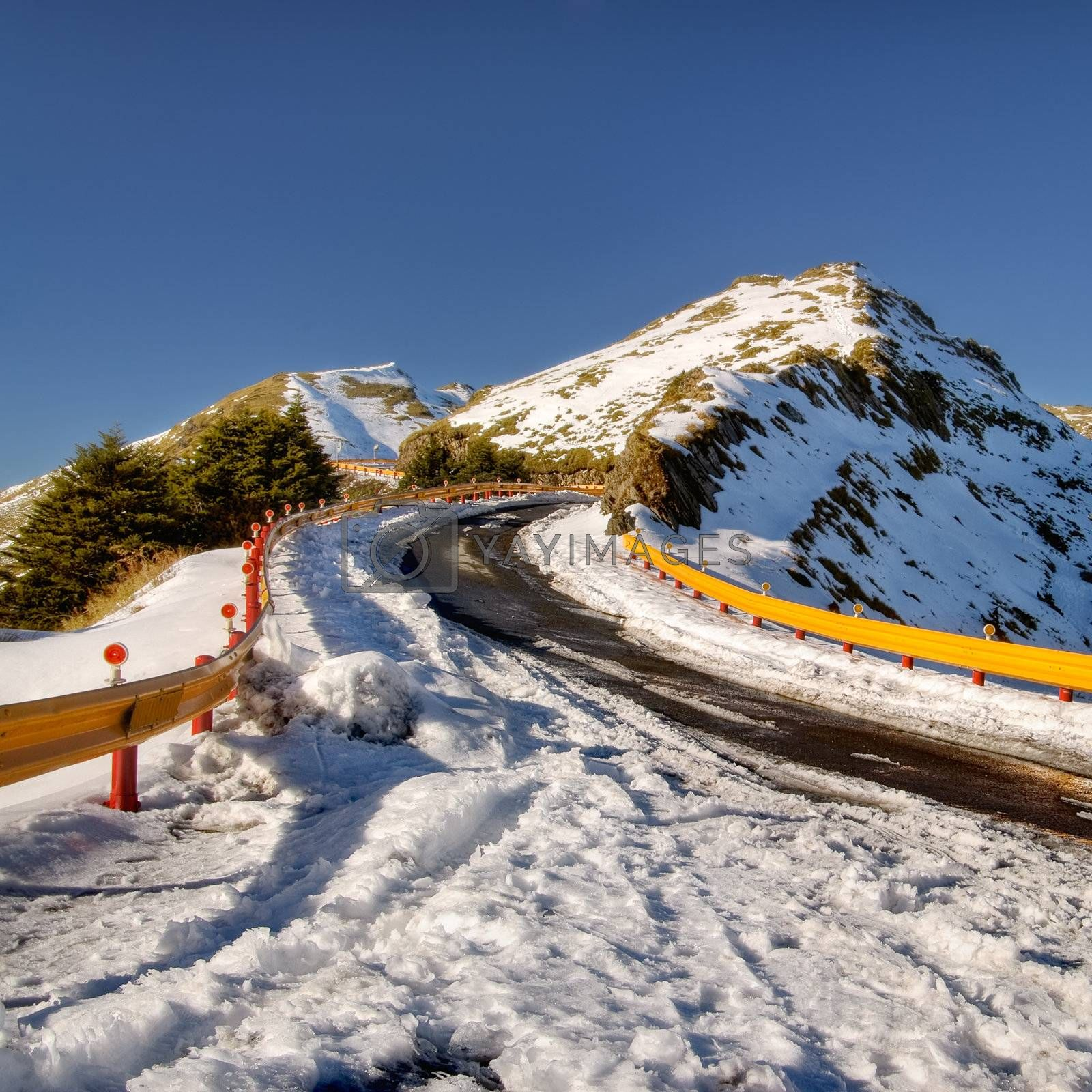 Landscape of winter mountain with roads with ice in Taiwan, Asia.