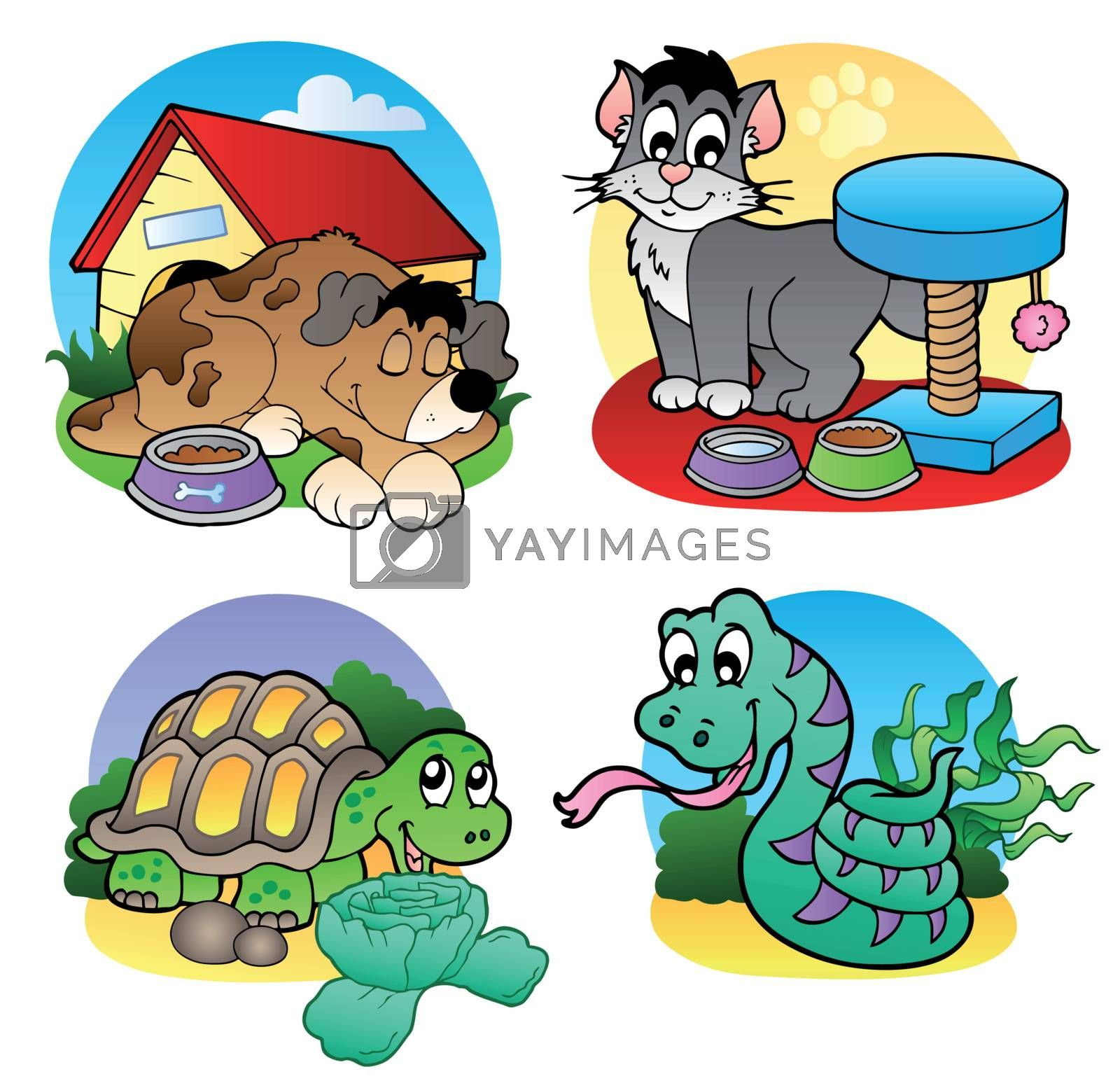 Various pets images 2 - vector illustration.